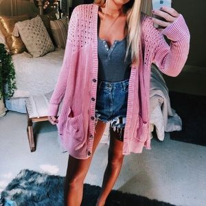 pink distressed style knitted cardigan